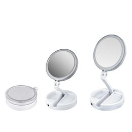 Wholesale Vanity Boxes - My Fold Away LED Makeup Mirror Double-sided Rotation Folding USB Lighted Vanity Mirror Touch Screen Portable Tabletop Lamp with Retail box
