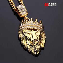 оптовая золотая льва Скидка ASGARD мужчины хип-хоп ювелирные изделия со льдом из золота мода Bling Лев глава кулон мужчины ожерелье золото заполненные для женщин подарок Оптовая