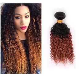 tone ombre curly hair weave Coupons - Two Tone Ombre Peruvian Virgin Hair Extensions 1B 30# Ombre Brown Blonde Peruvian Kinky Curly Human Hair Weave 3 Bundles