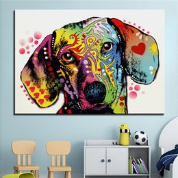 oil colour paintings Coupons - Home Furnishing High Definition Abstract Watercolour Dog Oil Painting Modern Decoration Arts Crafts Gifts Living Room Colour 7jc bb
