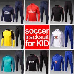 Wholesale Yellow Sweat Suits - Soccer tracksuit 2018 Best quality survetement football Marseille Real Madrid training suit kids sweat top chandal soccer jogging football