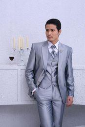 Wholesale Marriage Suits - Silver blazer men formal dress latest coat pant designs suit men homme masculino trouser marriage wedding suits for men's vest