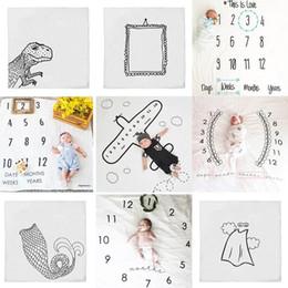 Wholesale Photo Props Blanket - INS Kids numeral Blankets cotton photo prop Blanket infant Swaddling Letter digital print baby Sleeping Bag 110*100cm 9 styles C3889