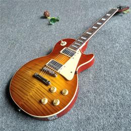 Vente chaude guitare électrique jaune avec tigre rayé et couleur dos rouge ? partir de fabricateur