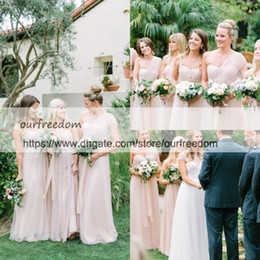 Wholesale hunter outdoor lighting - 2018 Dusty Pink One Shoulder Bridesmaid Dresses Tulle Floor Length Maid Of Honor Wedding Guest Gowns For Garden Outdoor Custom Made Cheap