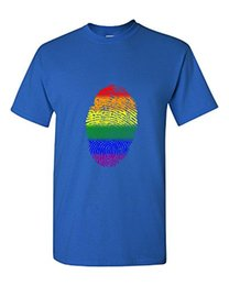 702da57af 100% Cotton Short Sleeves Tee Shirts Finger Print Rainbow Great Gift For  The Lgbt Community Adult Shirt