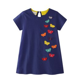 Wholesale Girls Dress Patterns Free - Fashion Brand Girl Dresses Solid Color With Butterfly Pattern Baby Dress Skirt Summer Beach Dress Princess Dresses Free Shipping 1040