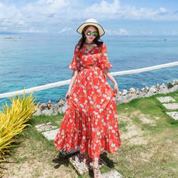 Оранжевый коралловый цвет онлайн-Женская цветочный принт старинные платья плюс размер сладкий Леди Половина рукава V шеи повседневная лето шифон коралловый оранжевый красный цвет платье