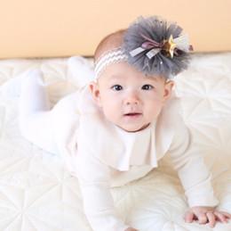 Wholesale Baby Headbands Appliques - Girls lace gauze flower sequins stars applique headbands baby ribbon Bows star pendant headdress kids lace falbala elastic hair bands YA0062