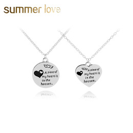 word round charms Promo Codes - New Fashion A piece of my heart is in the haven words charm jewelry round heart necklace for woman silver heart pendant necklace lettering