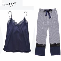 e02dc9b5b3 New 2018 Spring Summer Women Silk Pijama Sets Lace Sleepwear Sexy Elegant Women s  Satin Pyjamas Vest+Long Pants 2Pieces sets