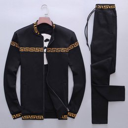 Wholesale Black Winter Cardigans - Autumn Winter Europe Italy Stars Fashion Men Sport Sweatshirt long sleeves Casual Women Zipper Jacket Human head logo Pants tracksuit