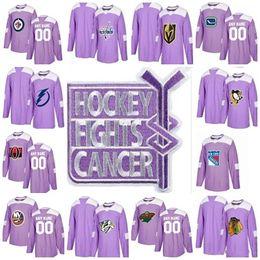 Wholesale oranges cancer - 2018 Purple Fights Cancer Practice Jersey New York Rangers Chicago Blackhawks Minnesota Wild Montreal Canadiens Custom Ice Hockey Jerseys