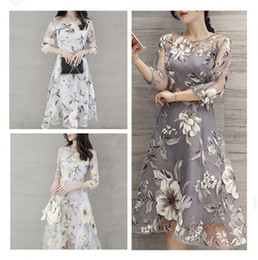 Wholesale Double Color Gowns - Fashion new design women o-neck lace double layer flower prom party beach dress girls foral printing organza dress