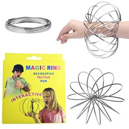 Wholesale kids spring toy - Toroflux Flow Rings 5 INCH Stainless Steel Kinetic Spring Metal SUS 304 Toroflux Magic Flow Ring 3D Sculpture Ring Interactive Toys For Kids