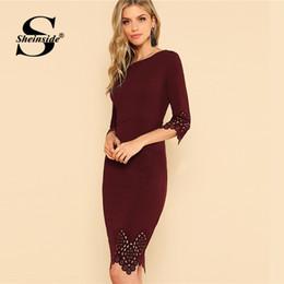 4c529636d1c9 vestiti da bodycon bordeaux Sconti Sheinside Borgogna Elegante Vestito  aderente Donna Lunghezza al ginocchio 3