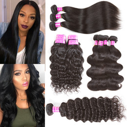 Wholesale Remy Water Wave Weave - Brazilian virgin hair straight body natural deep water wave kinly culry human hair extensions weft weave bundles with closure frontal