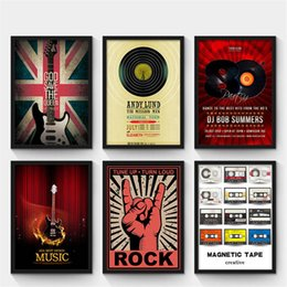 Wholesale guitar modern art painting - Modern abstract Guitar Vintage music bar canvas painting decorative wall posters art prints creative coffee shop home decor