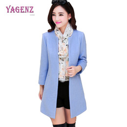 Wholesale Womens Blue Coat Wool - Winter New Womens Long Woolen Jacket 2018 Fashion High Quality Warm Wool Coat Pure Color Slim Round Neck Thicken Overcoat B90