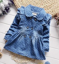 Wholesale 18 Month Jacket - Baby Clothes spring autumn children's denim jackets for girls polka dots jeans jackets female baby cotton lapel coat kids outerwear