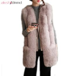 Wholesale Long Faux Fur Vest White - AKSLXDMMD Fashion Faux Fur Vest 2017 New Autumn and Winter Thick Warm Women Mid-long Faux Fox Fur Jacket Female Coat LH1248