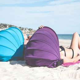 Wholesale Blue Awning - Portable Personal Face Shade Adjustable Beach Sun Protection Tent Awnings With Inflatable Pillows