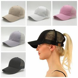 Wholesale White Ponytail - 5 Colors CC Ponytail Ball Cap Messy Buns Trucker Ponycaps Plain Baseball Visor Cap Dad Hat CC Ponytail Snapbacks CCA9282 120pcs