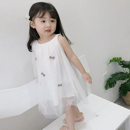 Wholesale kids dress designs cotton - Baby Girls Summer Dress Kids Clothes Bowknot Design Mesh Girl Dress Girl Children Casual Dresses wt1720
