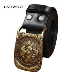 Wholesale Brand Selection - Fashion real brand men belt high quality first layer of leather production selection lion head copper buckle lead