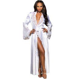 e9b3c6b657 Women Gorgeous Silk Blend Ladies Sleep Dress Sleepwear Long Sleeve Women  Robe 2018 New Fashion CL465