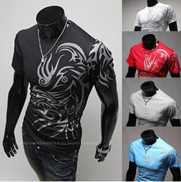 Wholesale Long Sleeve Tattoo T Shirts - Wholesale 2018 new style Chinese wind Dragon Tattoo printing short sleeved long sleeved t-shirt men