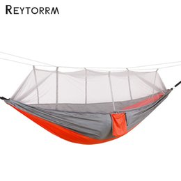 Amaca per esterni Durevole Amaca Coppia Survival Viaggio Camping Hamak Per 1-2Person Backpacking Garden Hanging Anti-Mosquito Hamac supplier hammock hang da amaca appendere fornitori