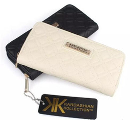 Wholesale Long Chain Handbags - Hot selling Fashion KK Wallet Long Design Women PU Leather Kardashian Kollection High Grade Clutch Bag Zipper Coin Purse Handbag