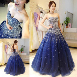 Wholesale triangle pattern fashion - 2018 Fashion Royal Blue Ball Gown Prom Dresses Sweetheart Sexy Back Lace-up Sleeveless Beaded Sequins Charming Evening Dresses