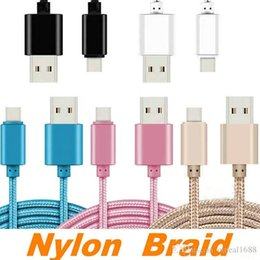 Wholesale Housings Cell - Cell Phone Cables For Samsung HTC LG 1M 2M 3M 3FT 6FT 10FT Metal Housing Braided Micro USB Cable High Speed Data Sync USB Charger OM-O1