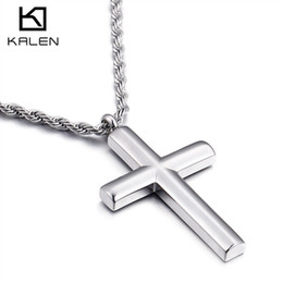 Wholesale cheap chain necklaces for men - Kalen Cross Necklaces For Men Fashion High Polished Stainless Steel Silver Color Cross Pendant Necklace Male Cheap Jewelry