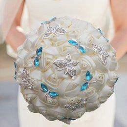 Canada Élégante Ivoire Crème Rose Papillon Cristal Diamant Point Bouquet De Mariage Mariage Broche De Mariage Fleur Bouquet Fait Sur Commande W2217 Offre