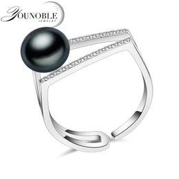 Anillo de perlas naturales negras de agua dulce reales 100% para mujeres, anillo de plata de ley 925 ajustable para mujer. desde fabricantes