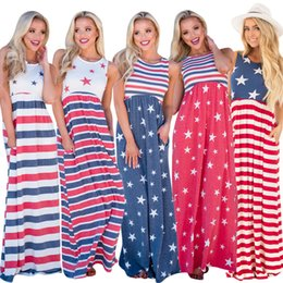 Wholesale blue american prom dress - Summer Beach Sleeveless Patchwork American Independence Day Dresses Red Striped Blue Stars Women Dress Prom Dresses 5Colors