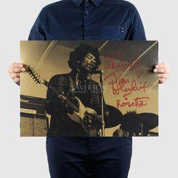 Canada Livraison gratuite, Jimi Hendrix / bande de musique / papier kraft / barre affiche / stickers muraux / affiche rétro / peinture décorative 51x35.5cm supplier stickers music free shipping Offre