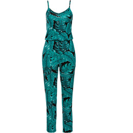 Wholesale Sling Pants - Sling V-neck printing Siamese pants to play the beach casual Siamese trousers jumpsuits & rompers