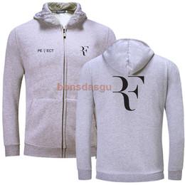 Roger federer online-Roger Federer RF logo Algodón cremallera sudadera liso con capucha cremallera sudadera invierno nuevo otoño Casual envío gratis