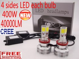 Wholesale H4 Cree Led Bulb - CREE All in One 4 sides LED Conversion Kit 400W 40000LM Bulb Headlight White Light Lamp H1 H4 H7 H11 9004 9005 9006