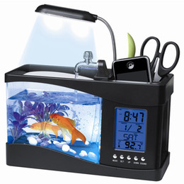Wholesale Blue Lights For Fish Tanks - USB Desktop Fish Tank Aquarium with LED Light Fish Tank Aquarium for Home and Office Decoration