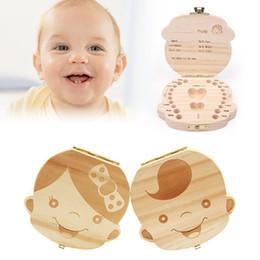 Wholesale box teeth - Kids Baby Keepsakes Wood Tooth Fairy Box Save Milk Teeth Organizer Storage Box Boys Girls English Spanish DDA483