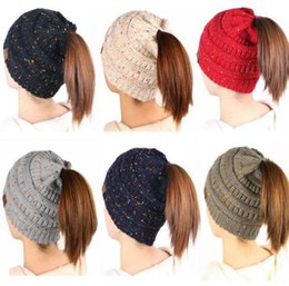 Wholesale High Tails - CC Ponytail Hats Beanie Tail Soft Stretch Knit High Bun Ponytail Beanie Hat Knitted Crochet Skull Beanie 8 Colors OOA3835