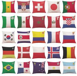 Wholesale Logo Pillow - 2018 World Cup National Flag Pillow Case Cover Top 32 Soccer Team Logo Pillowcase Flax Throw Cushion Cover Home Sofa Decor 45*45cm
