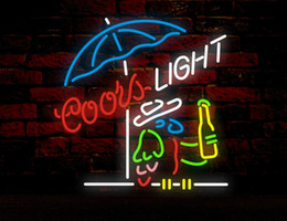 Wholesale Real Neon Bar Lights - COORS LIGHT &PARROT Neon Sign Real Glass Tube Bar Business Advertising Home Decoration Art Gift Display Metal Frame Size 20''X16''