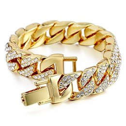 Wholesale brass curb chain - Mens Womens Chain Hiphop Iced Out Curb Cuban White Gold Plated Bracelet Link with Clear Rhinestone