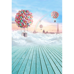 Wholesale Eiffel Tower Backgrounds - Colorful Hot Air Balloon Backdrop for Photo Studio Printed Eiffel Tower Thick Clouds Rainbow Baby Kids Photography Background Wood Floor